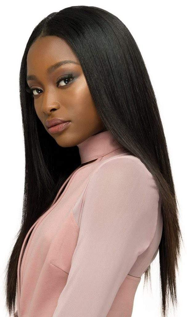 Center-parted long straight hairstyle